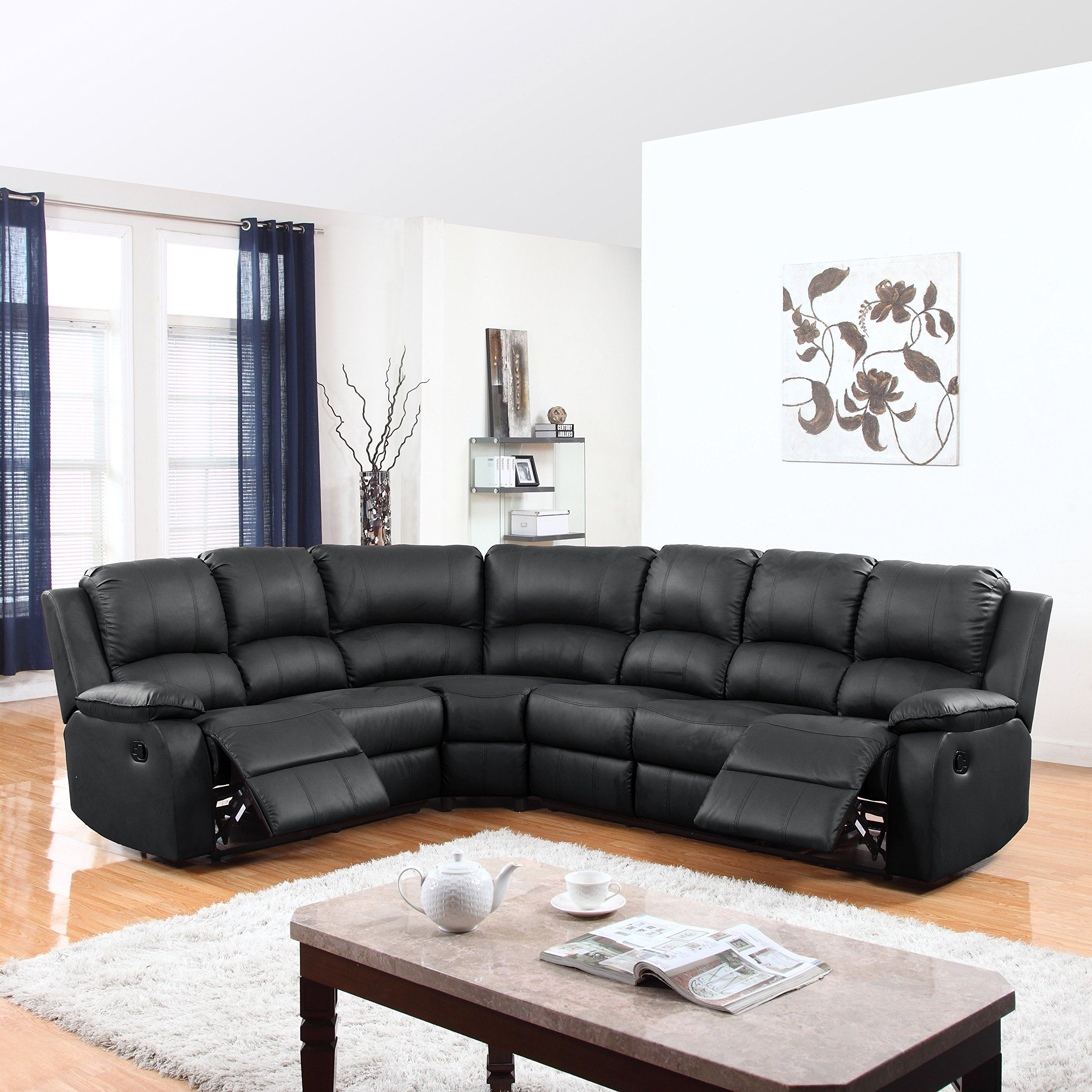 Large Classic and Traditional Bonded Leather Reclining Corner ...