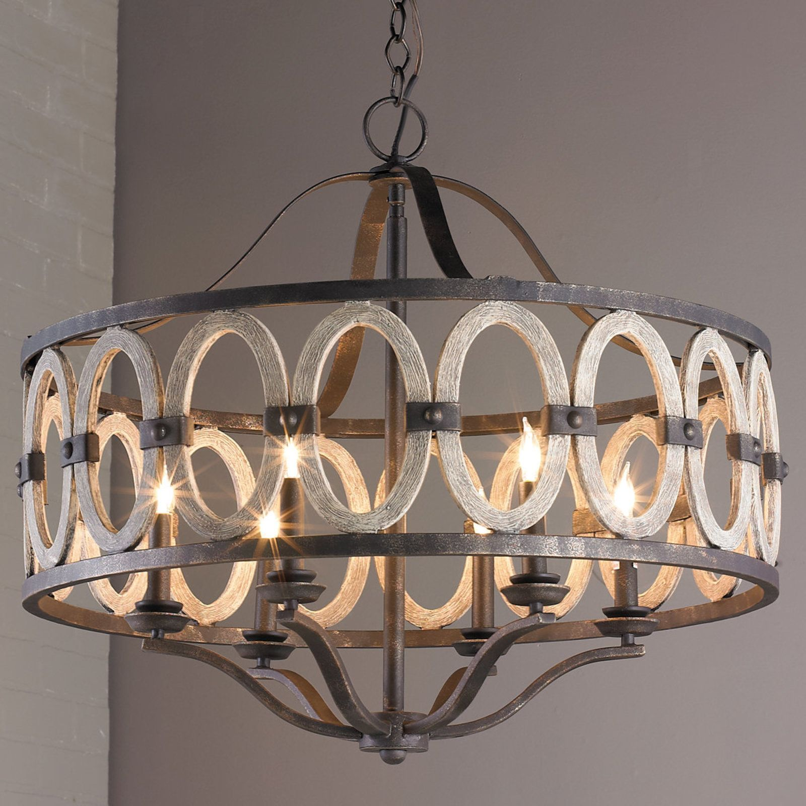 Driftwood entwined ovals chandelier driftwood wrought iron and driftwood entwined ovals chandelier dining room light fixturesdining arubaitofo Images