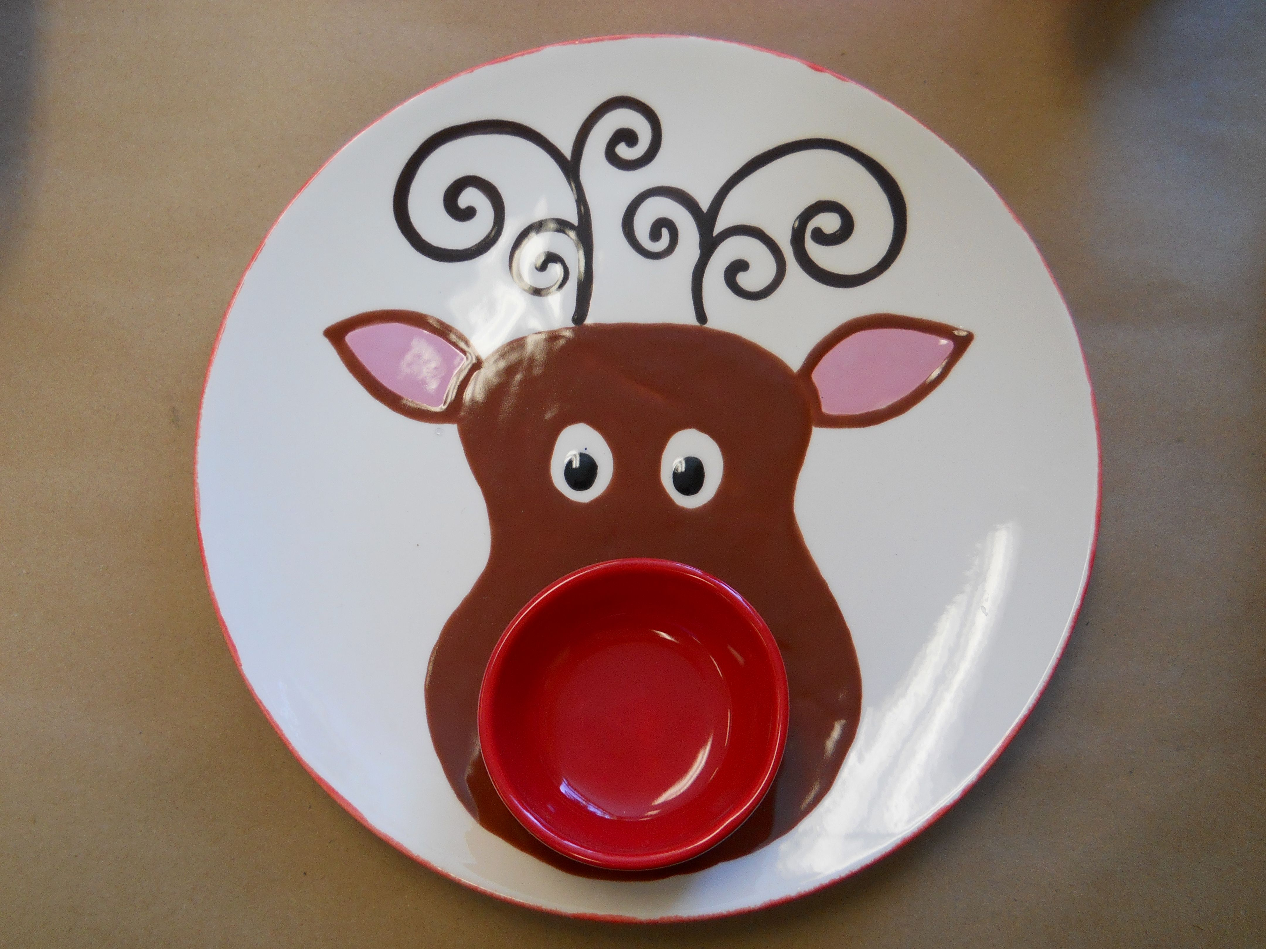 rudolph the red nosed reindeer chip and dip set from 2012 holiday pottery camp. design by ccsa share
