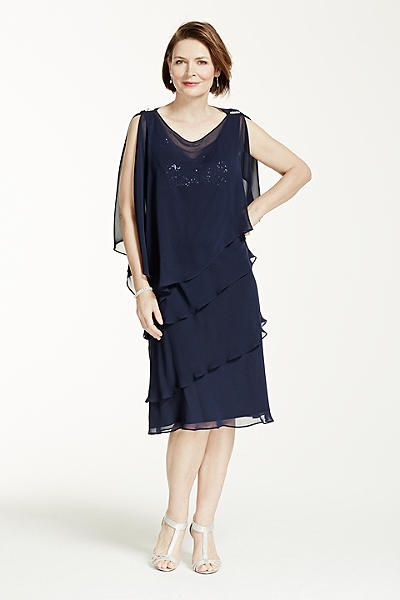 Multi Tiered Short Caplet Chiffon Dress 115373