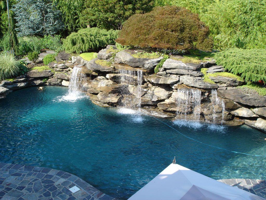 Backyard Pool With Waterfall Backyard Pool Landscaping Pool Waterfall Swimming Pools Backyard