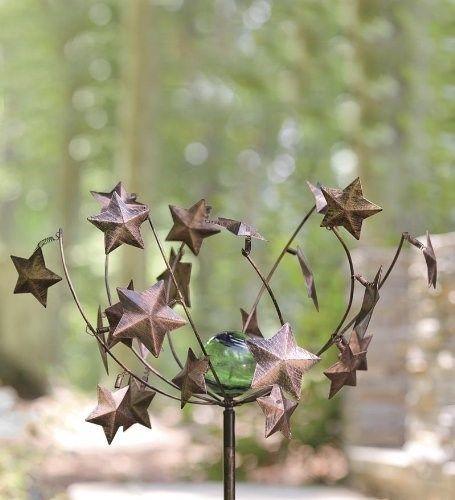 Stars U0026 Glowing Center Ball Metal Wind Spinner Garden Sculpture