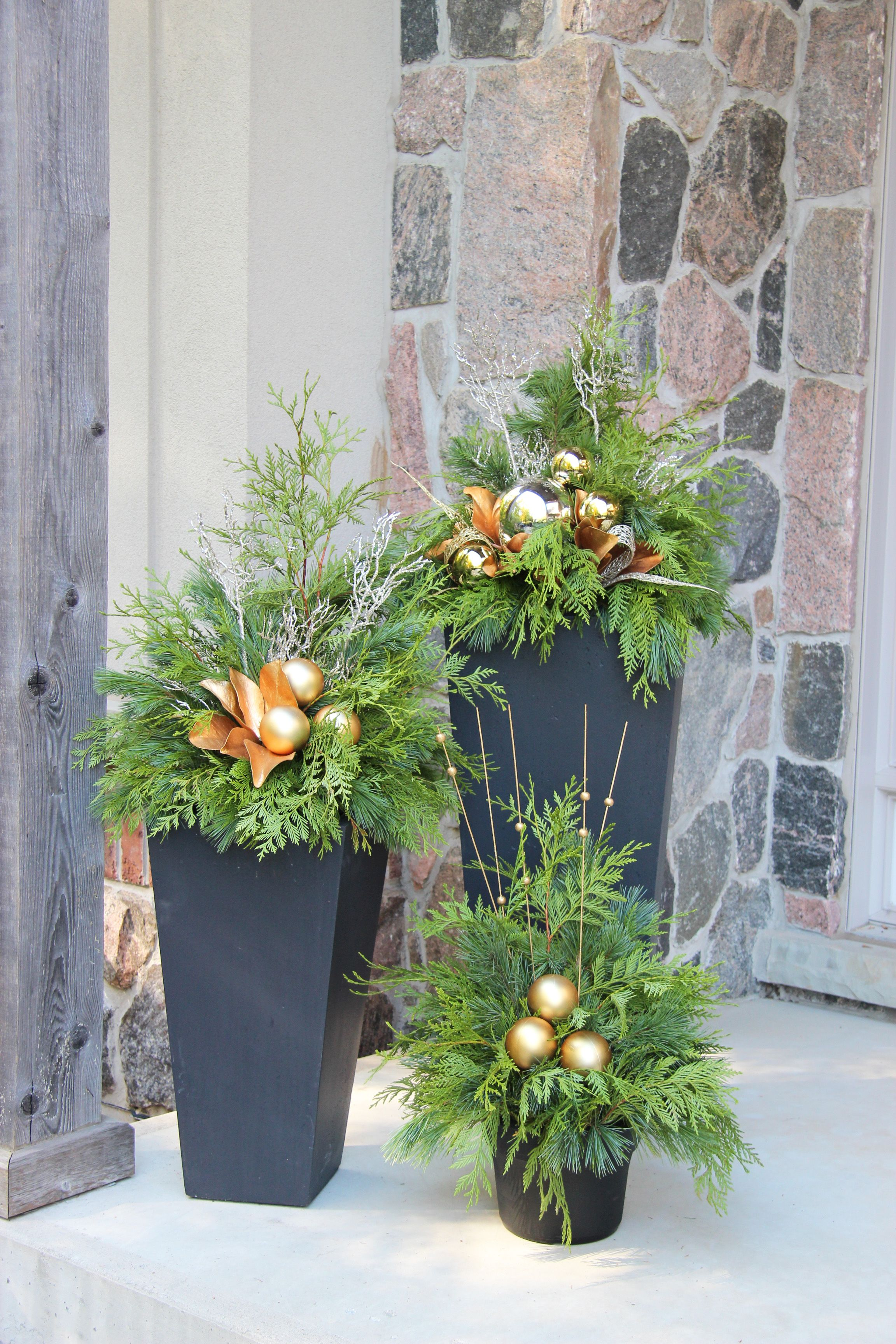 Holiday Decorating Outdoor Christmas Planter
