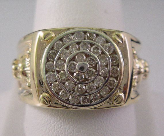 Mens Diamond Ring Unique Channel Set 1 Carat Total and Lion Design Solid 10K Yellow Gold Circles by americanjewelryco, $979.00