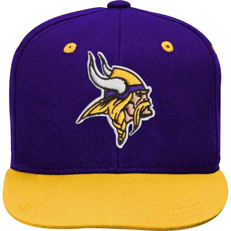 9b899291fc7 Minnesota Vikings Youth Two-Tone Flatbrim Snapback Adjustable Hat –  Purple Gold