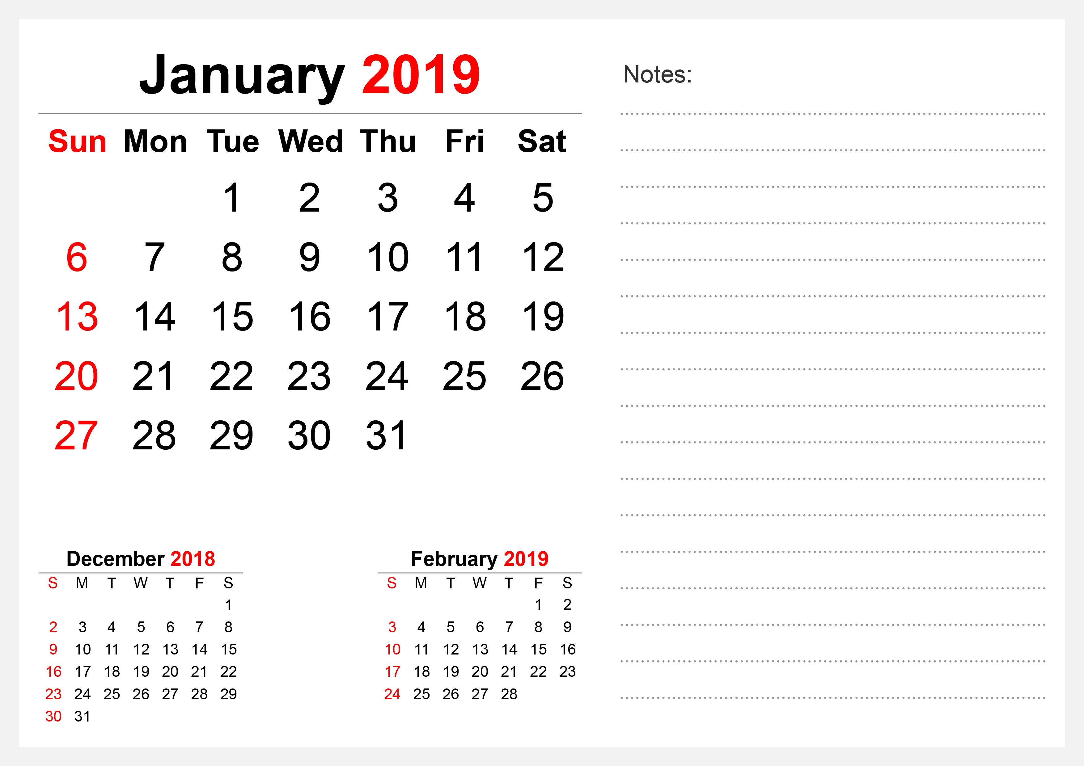 Calendrier Geo 2019.Printable January 2019 Calendar For Wall Free Printable