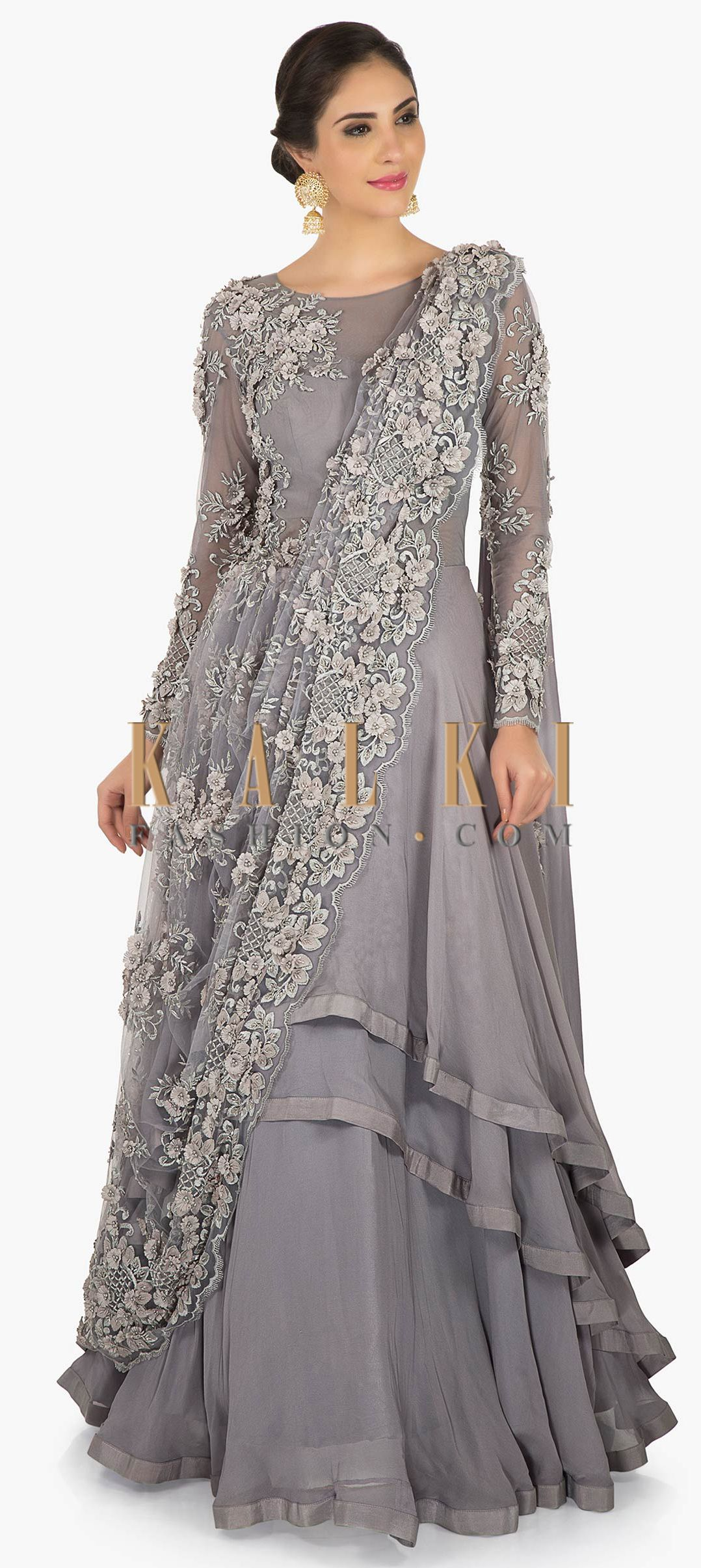 863140e9 Grey gown saree in net crafted in moti and cut dana embroidery work only on  Kalki. Buy Online from the link below. We ship worldwide (Free Shipping  over ...