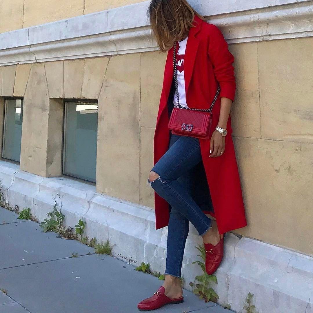"5,081 Likes, 136 Comments - Vola Udabe Randri (@olaizolav) on Instagram: ""R e d ...🌹 •Coat #zara #zarawoman  @zara •Tee #levis @levis_spain •Ripped jeans ( old ) #aninebing…"""