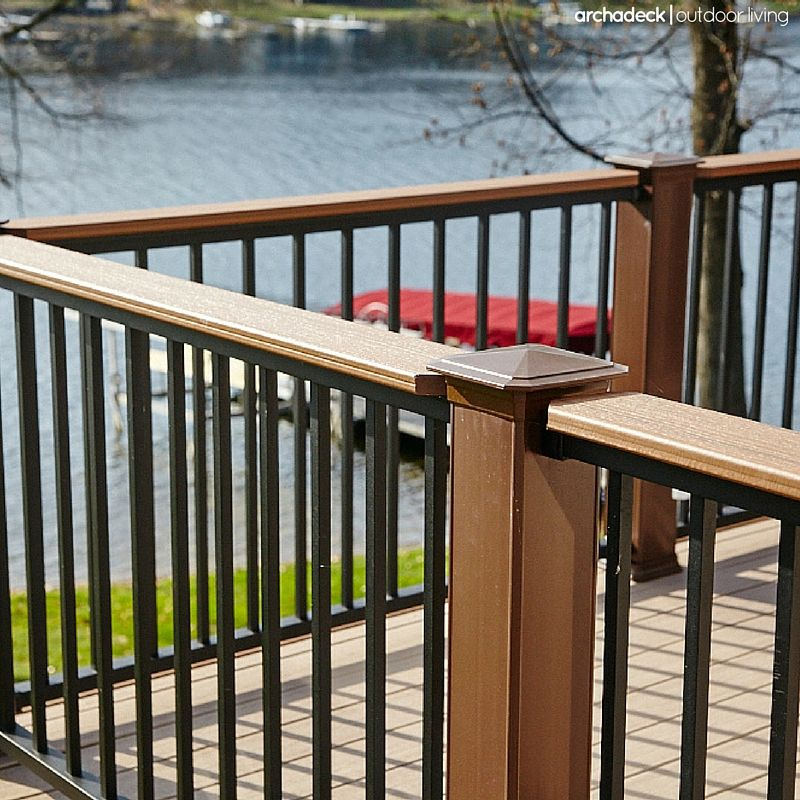 Deck Rail With Drink Ledge Rails Play A Significant Role In The Look Of Your Deck And Are A Framework For Bot Deck Railings Deck Designs Backyard Deck Design