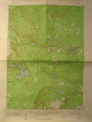 Vintage Map of Lake County Michigan, Geological Survey, Baldwin Quadrangle, Full Color c.1959