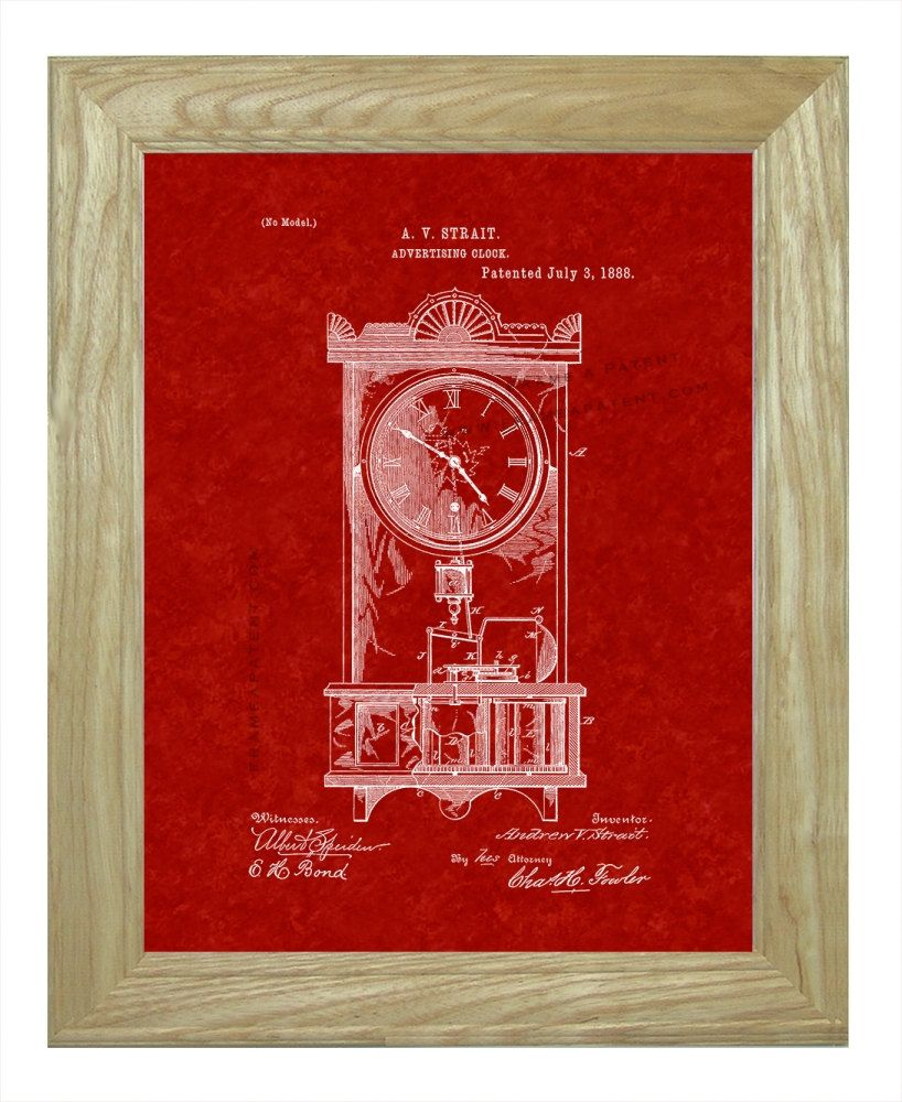 ##Framed Patent Art - #Advertising Clock WITH Natural Real Wood #Frame - ##Framed Pa,  View more on the LINK: 	http://www.zeppy.io/product/gb/3/230779473/