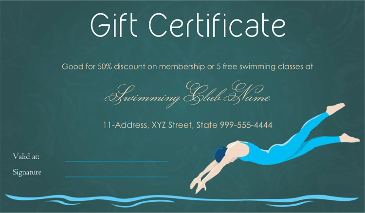 Swimming Club Gift Certificate Template Gift Certificate