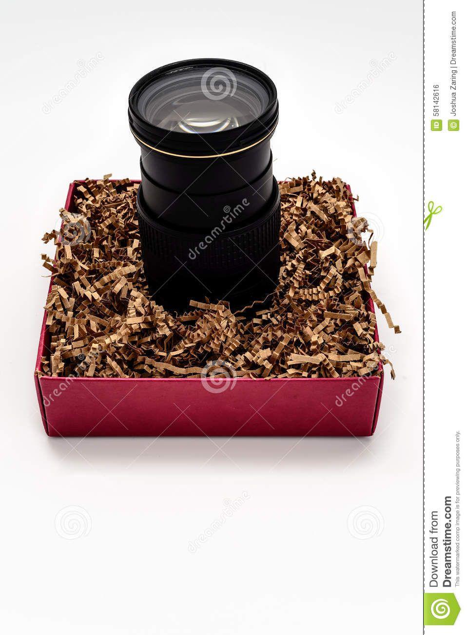 Camera zoom lens upright in gift box camera zoom lens