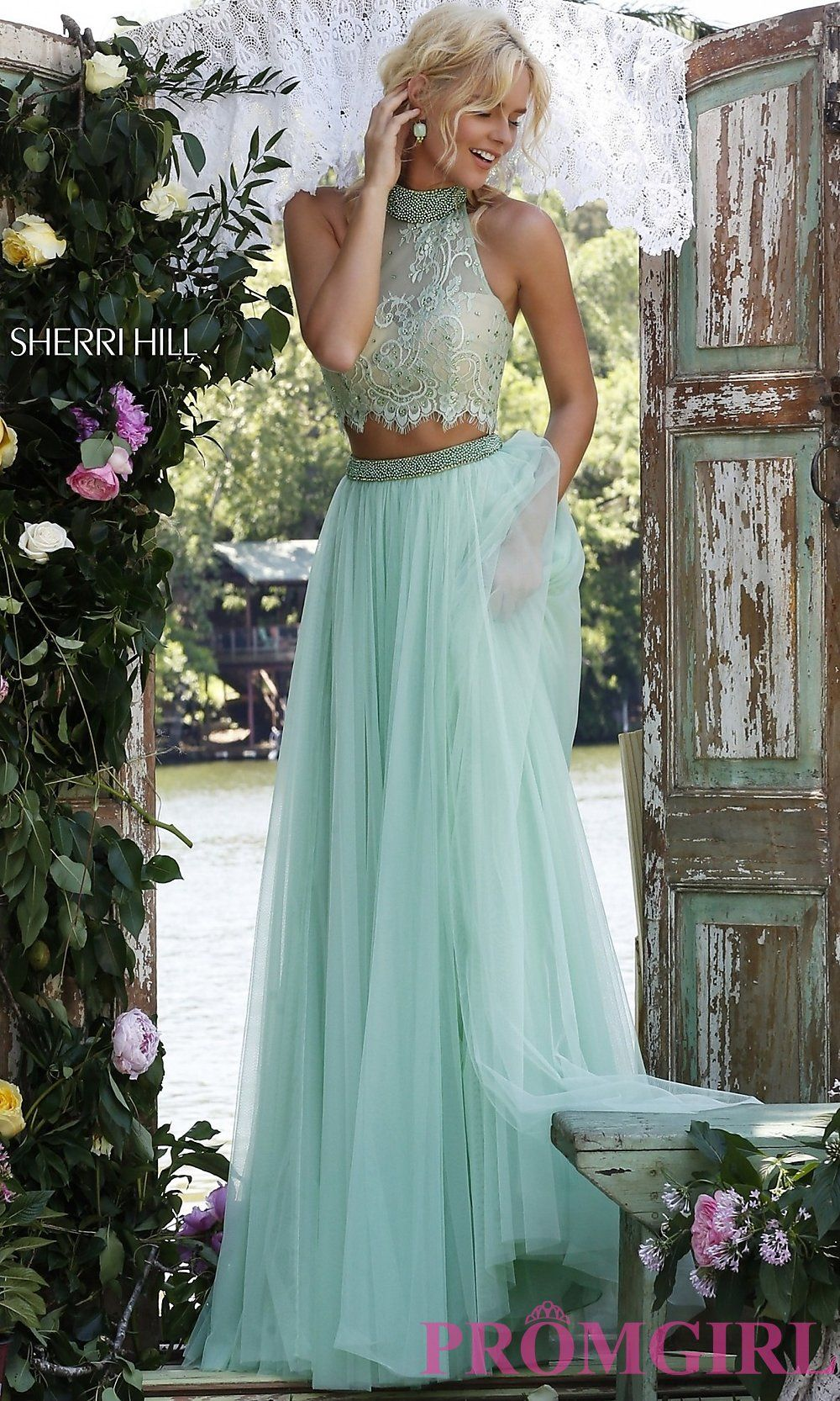 Light green lace dress  High Neck Sherri Hill Two Piece Prom Dress with Lace Top in Light
