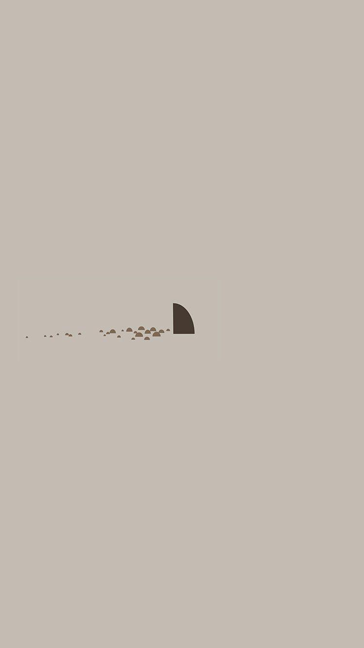 Minimal Simple Shark Sea Illust Art Cute Wallpaper Hd Iphone