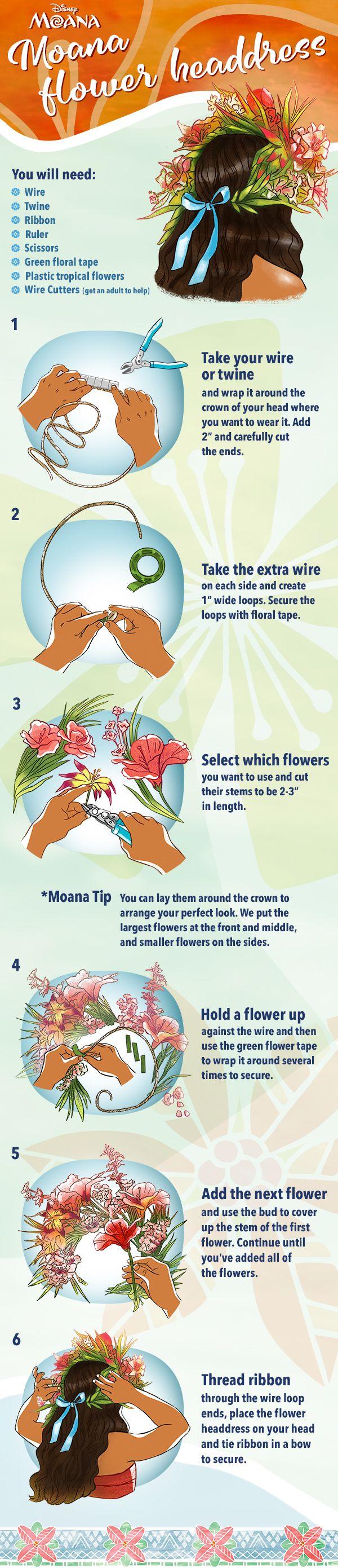 Create Your Own Diy Flower Headdress Bring Disneys Moana Home To