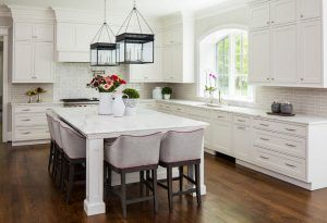 Off White Kitchen Cabinets With Gray Backsplash Tile Off White