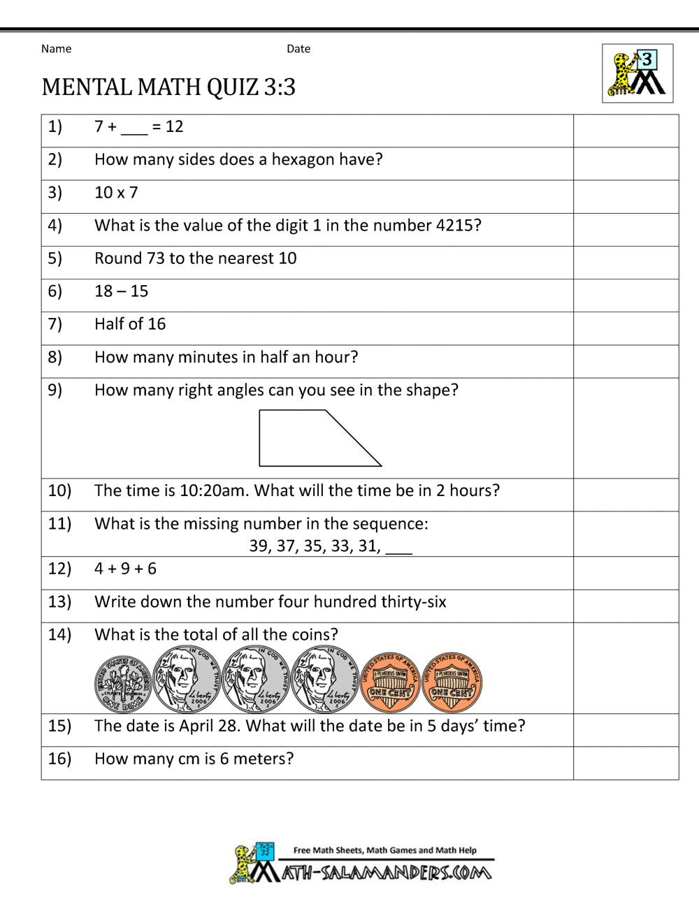 5 Mental Maths Worksheets For Class 3 2 In 2020 Everyday Math Mental Maths Worksheets Math Worksheets