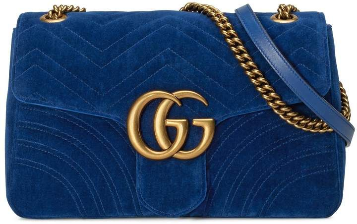 fe94debf2097 Gucci Medium GG Marmont 2.0 Matelasse Velvet Shoulder Bag in 2019 ...