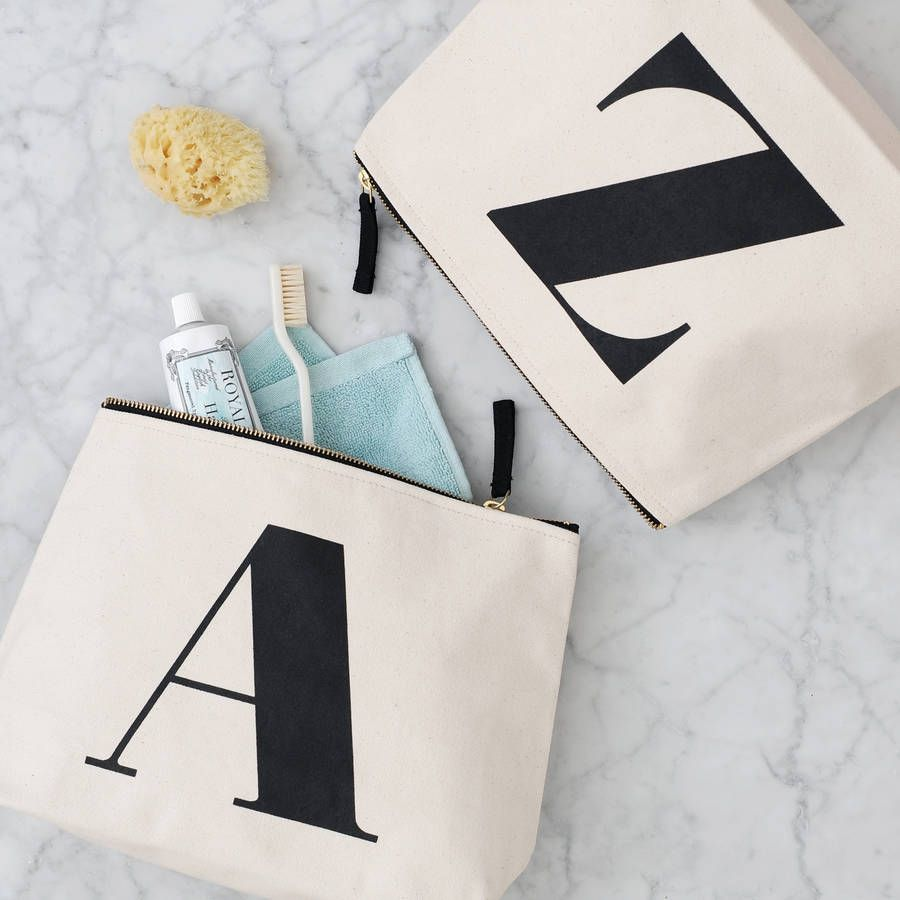 0aff7fe1bb Initial Wash Bag Natural. Initial wash bags from Alphabet Bags. A super  heavy canvas wash bag printed with your choice of initial
