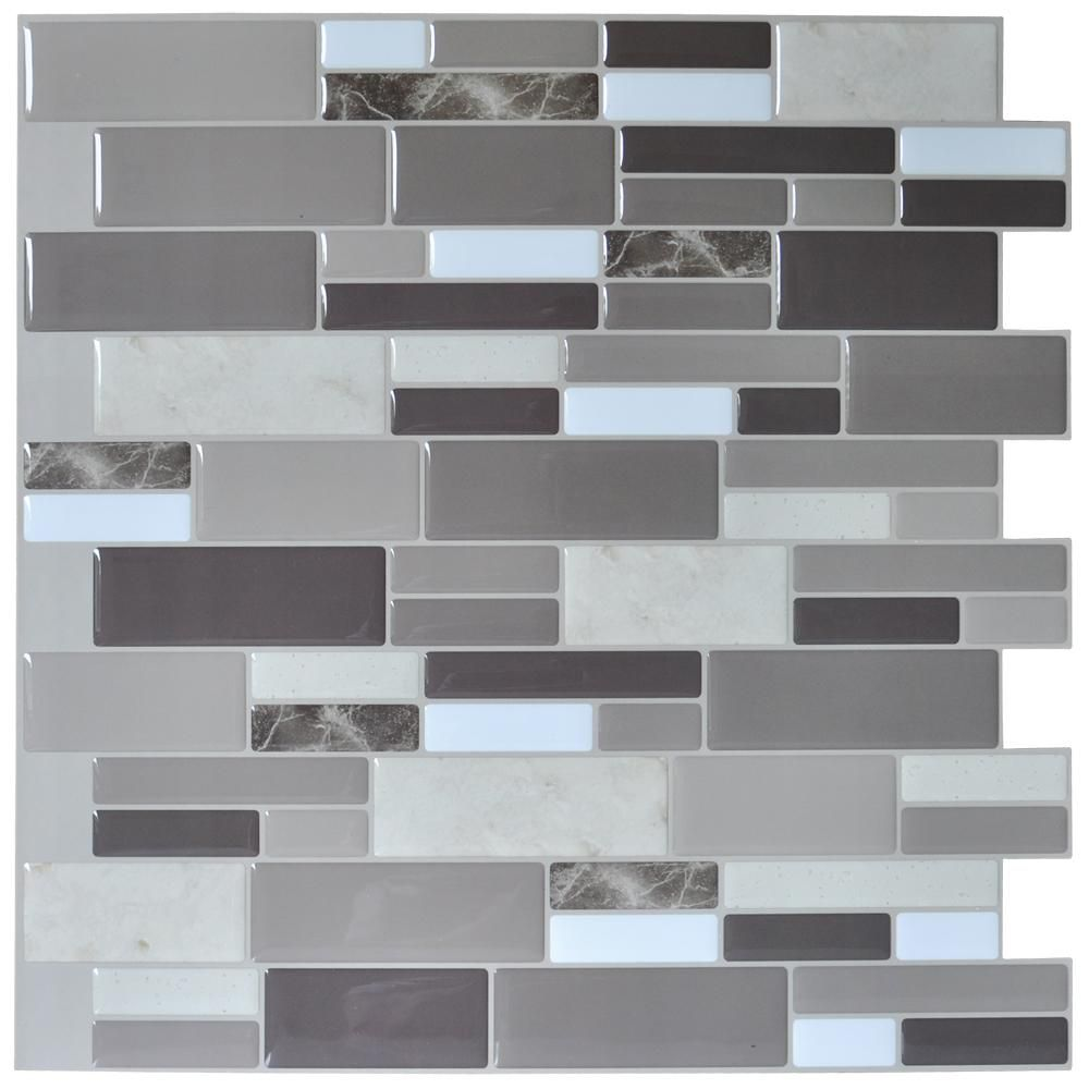 12 X12 Peel And Stick Tile Brick Kitchen Backsplash Wall Tile Stone Gray Design 6 She Self Adhesive Wall Tiles Kitchen Backsplash Images Kitchen Backsplash