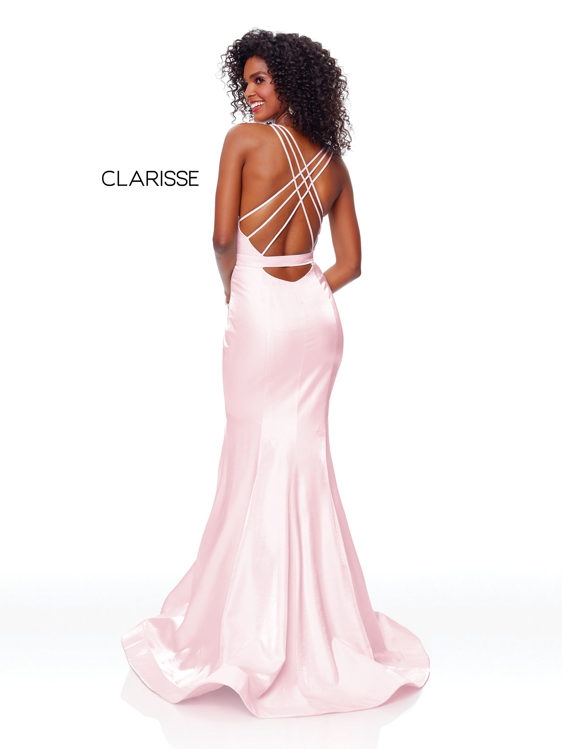 c65c949e9f 3765 - Blush fit to flare prom dress with a plunging neckline and back  strap details