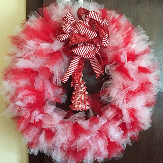 Red & White Christmas Tulle Wreath With Tree by WhirlyWreaths