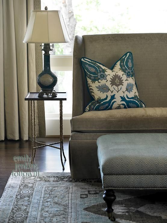 Olive interiors living rooms brown and blue living - Blue and brown living room furniture ...
