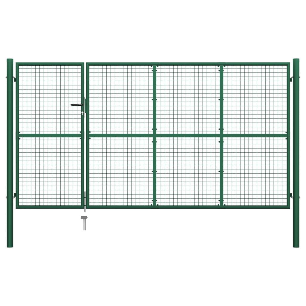 vidaXL garden gate steel 350 x 175 cm green