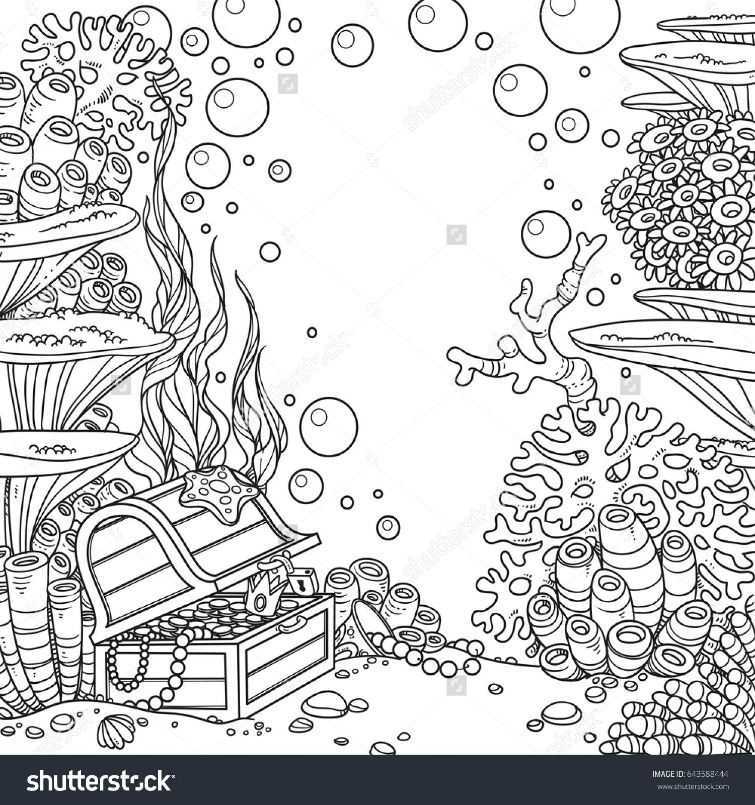 Underwater World With Corals And Treasure Chest Outlined Isolated On White Background Coral Drawing Water Animals Art Animal Coloring Pages