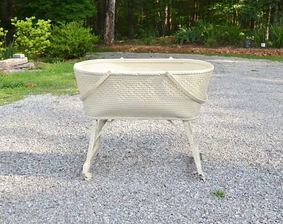 Vintage Baby Bassinet White Basket Weave On Wheels Folding Wooden