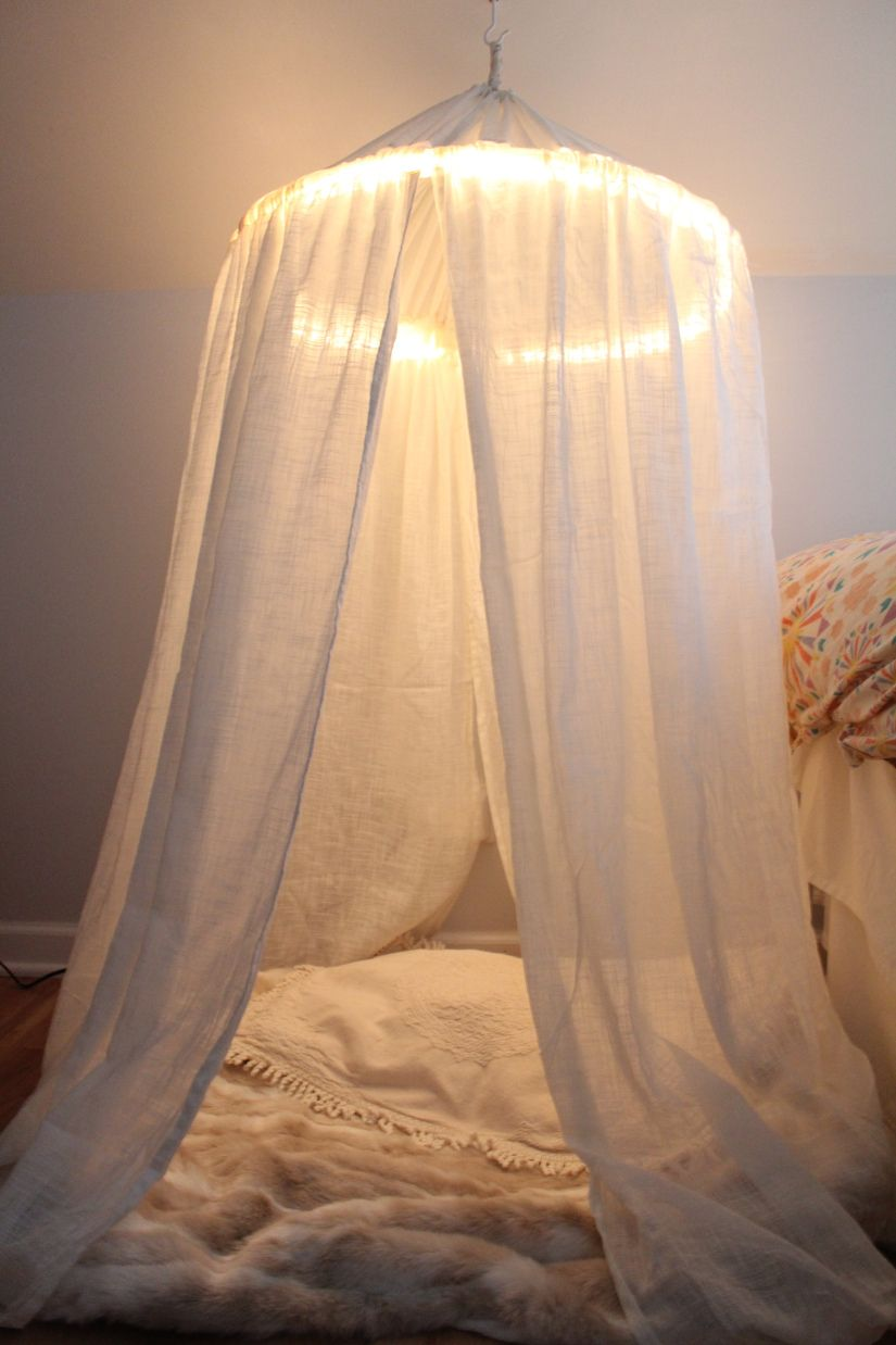 Diy kids play tent use a hula hoop wrap christmas lights Canopy over bed