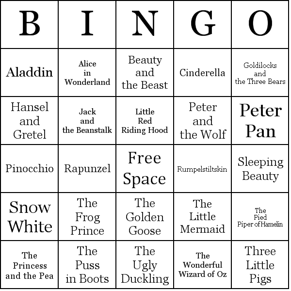 Christmas Party Icebreaker Games For Adults: Famous-Fairy-Tales-bingo.png (600×600)