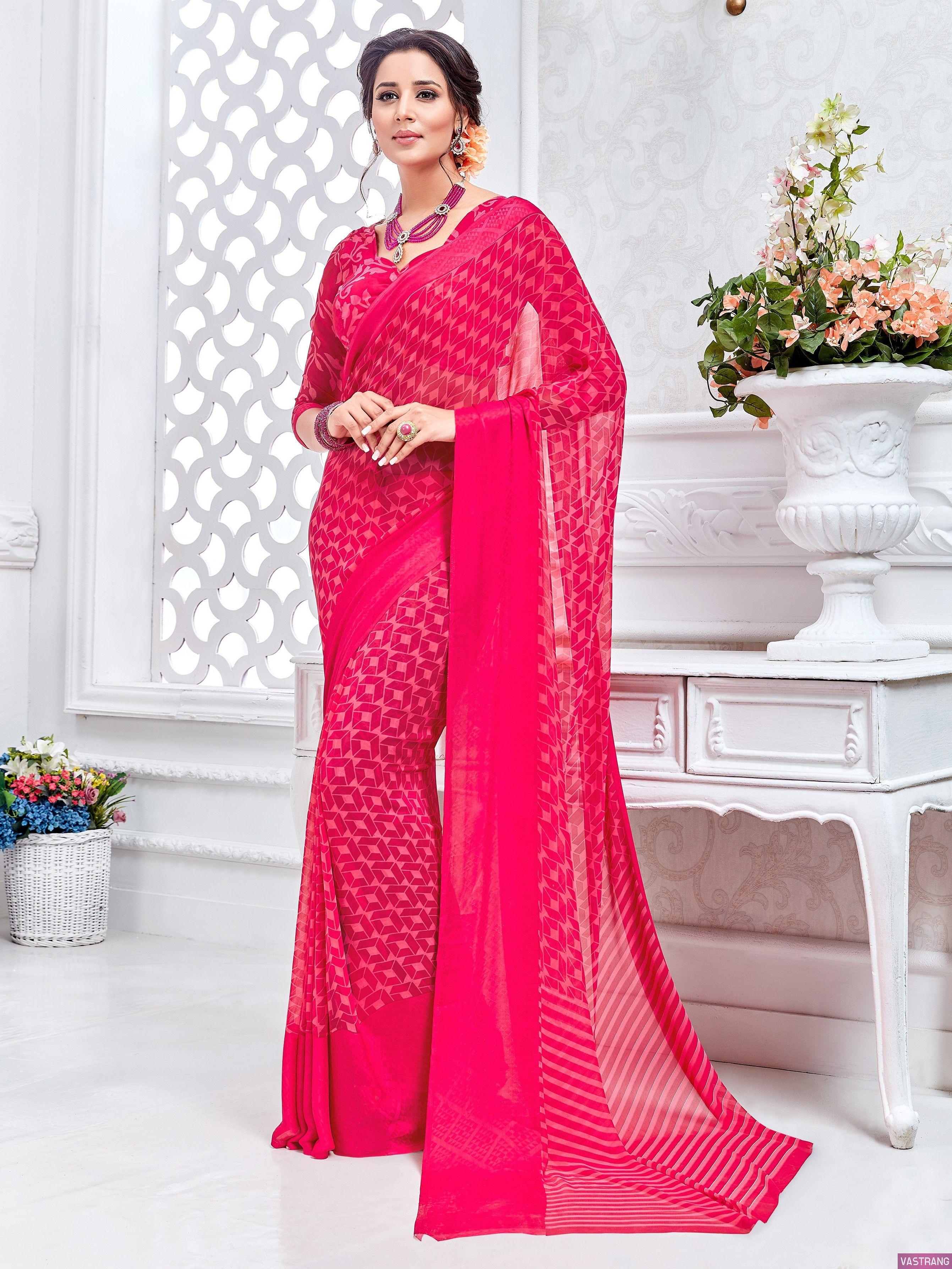 Rani Pink Silk Designer Embroidered Saree with Checks