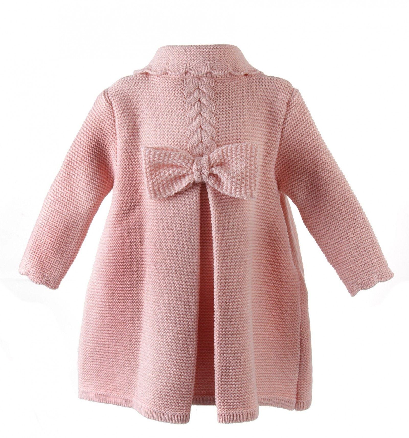 Abrigo de lana para niña de punto bobo con ochos y lazo zapatero ...