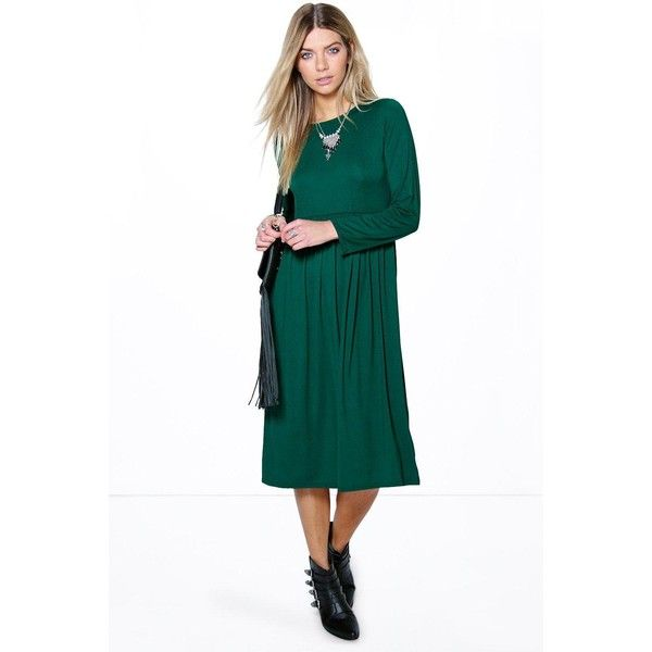 Boohoo Mia Long Sleeve Midi Dress ( 26) ❤ liked on Polyvore featuring  dresses e28cf29cc140