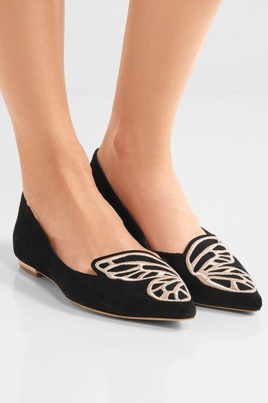 33592a4d6107 SOPHIA WEBSTER Bibi Butterfly embroidered suede point-toe flats Heel  measures approximately 15mm  0.5 inches Black suede Slip on