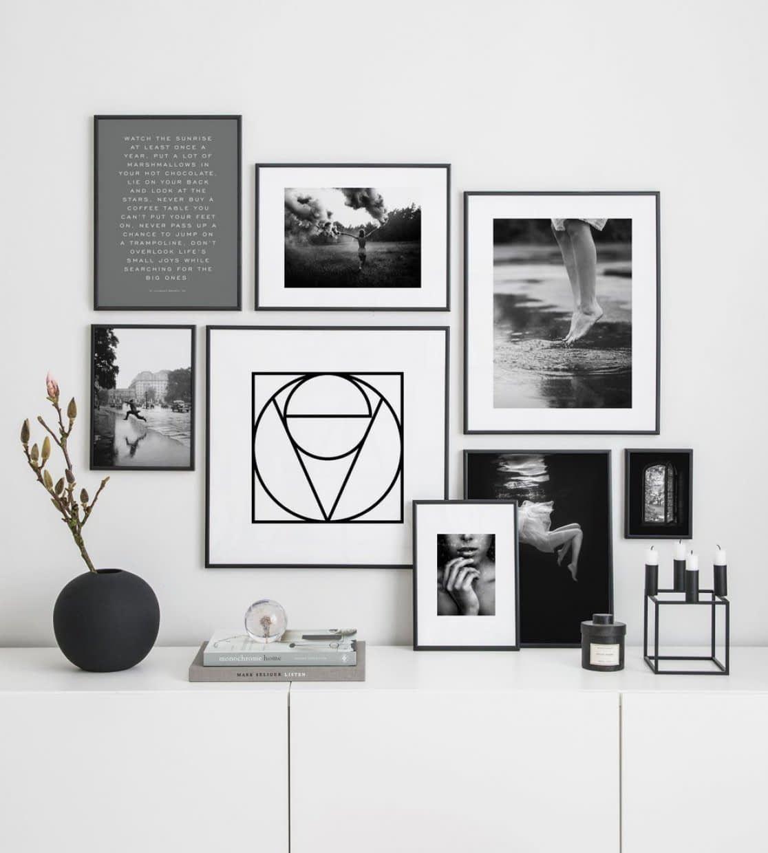 Fotowand Met Stijlvolle Zwart Wit Posters Inspiratiemuur Fotowand Witte Muren Decoreren