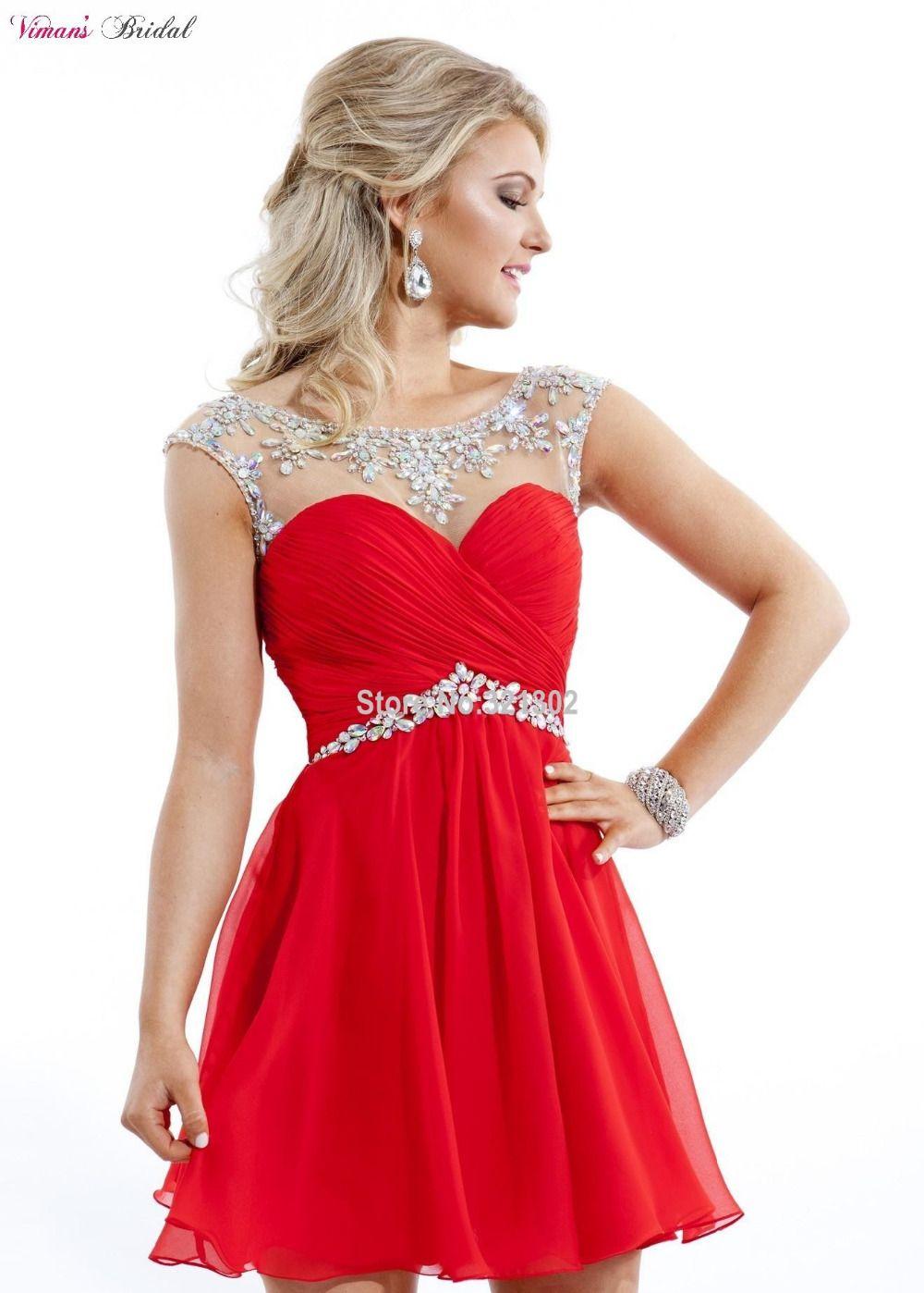 186c3de21a4106 Goedkope Vintage a lijn chiffon crystal boven knielengte cocktail jurk  mouwloze mini open back party gown china EN151