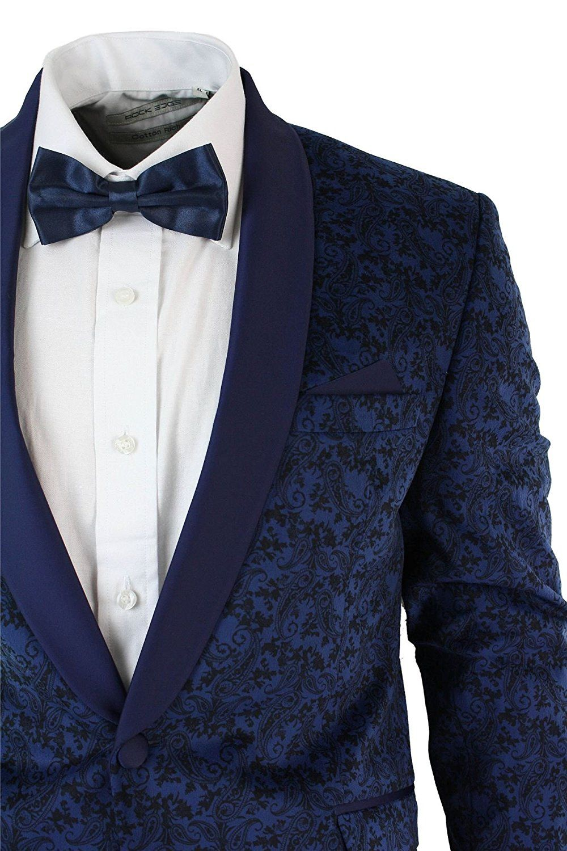 Mens Slim Fit Velvet Paisley Blazer   Trouser Tuxedo Dinner Suit Blue Satin  Trim We Designed It I.K Design Price £450 67c00d6a8