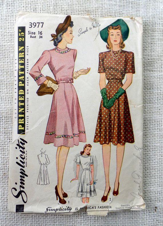 Vintage Pattern 1941 dress gored skirt 1940s dress Bust 34 pre war ...