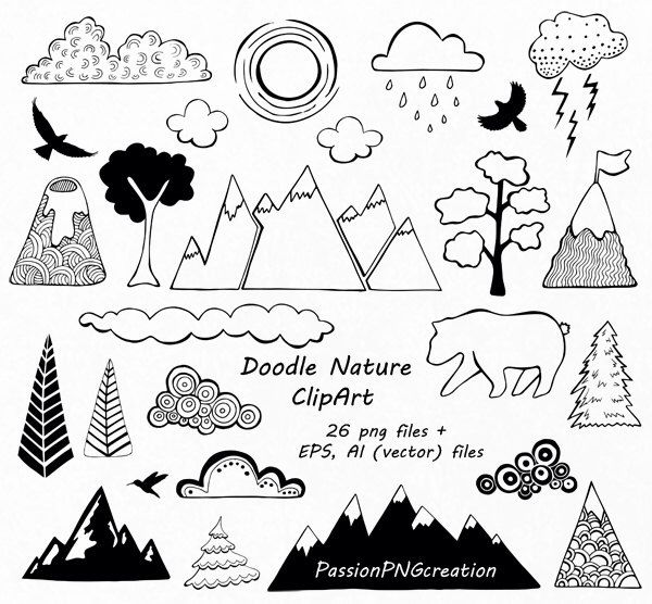 Doodle Nature Clipart Hand Drawn Mountain Clipart Clouds Etsy Mountain Drawing Doodle Drawings Doodles