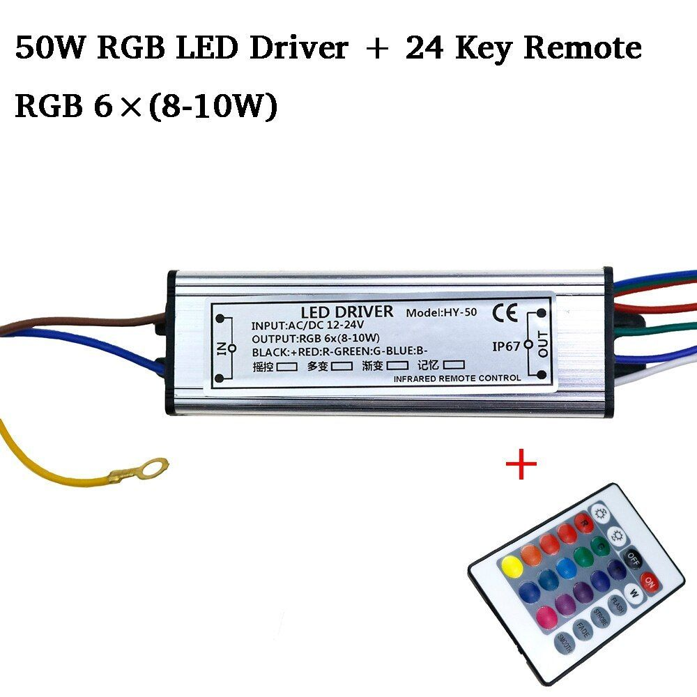 Rgb Led Driver Dc12 24v 10w 20w 30w 50w For Rgb Led Chip Cob Smd Led Beads With 24 Key Remote For Diy Floodlight Spotl Led Drivers Rgb Led Led Fluorescent Tube