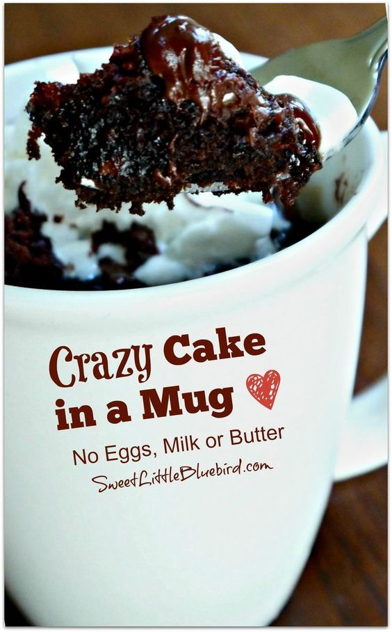 Crazy Cake In A Mug No Eggs Milk Or Butter Ready In