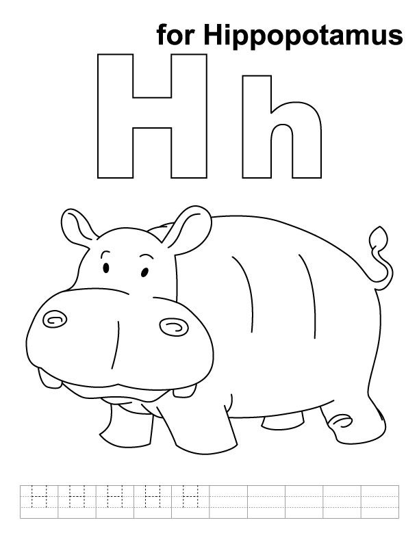 h for hippopotamus coloring page with handwriting practice