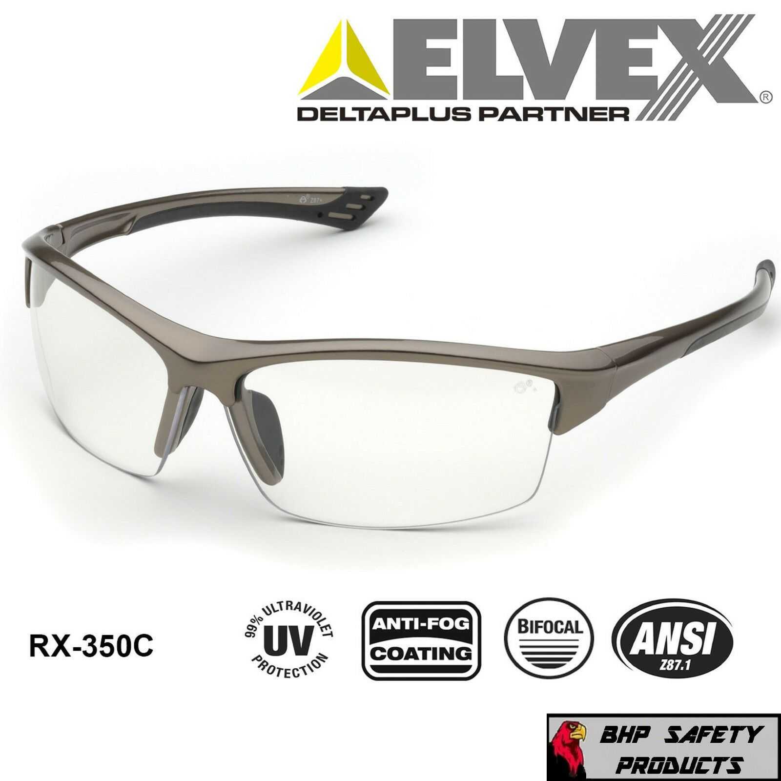 ELVEX SONOMA RX350C BIFOCAL READER SAFETY GLASSES CLEAR