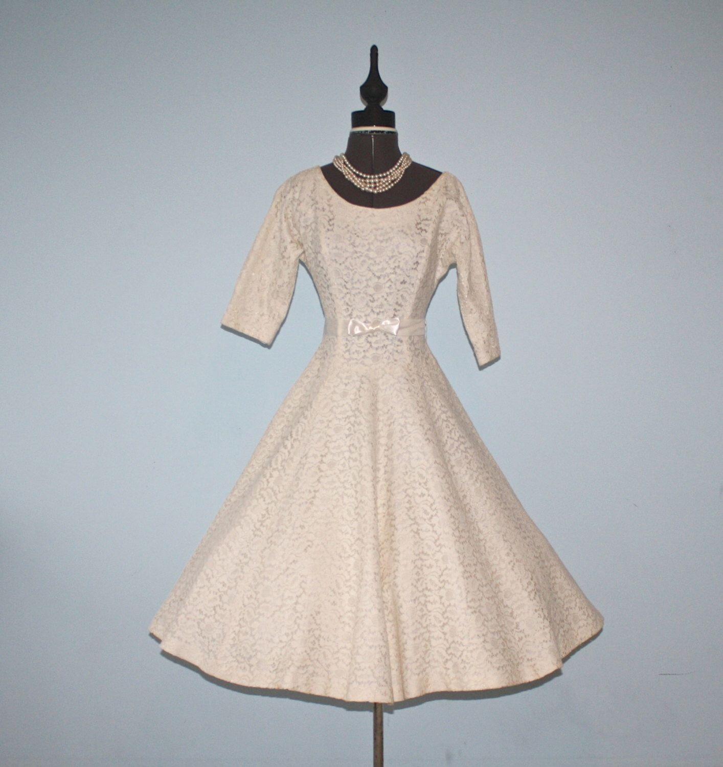 Vintage 1950s Lace Party Dress / 50s Ivory White Chantilly Lace ...
