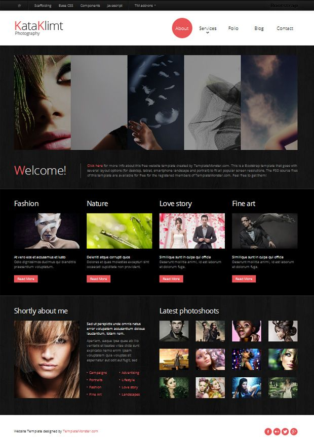 Bootstrap Free Responsive Template Photography Photography Website Templates Free Website Templates Free Photography Website Templates
