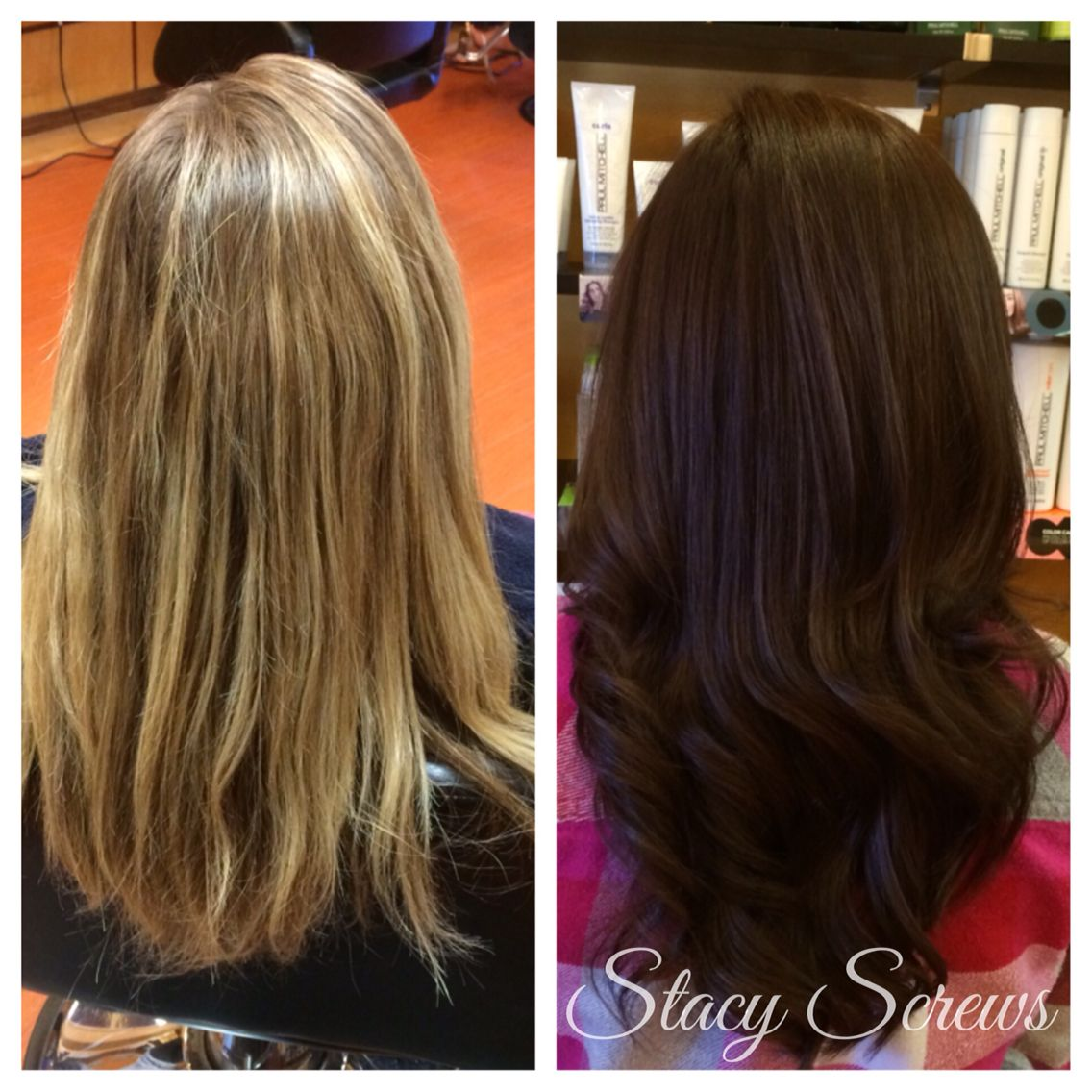 Beautiful transformation for this client rich brown just in time