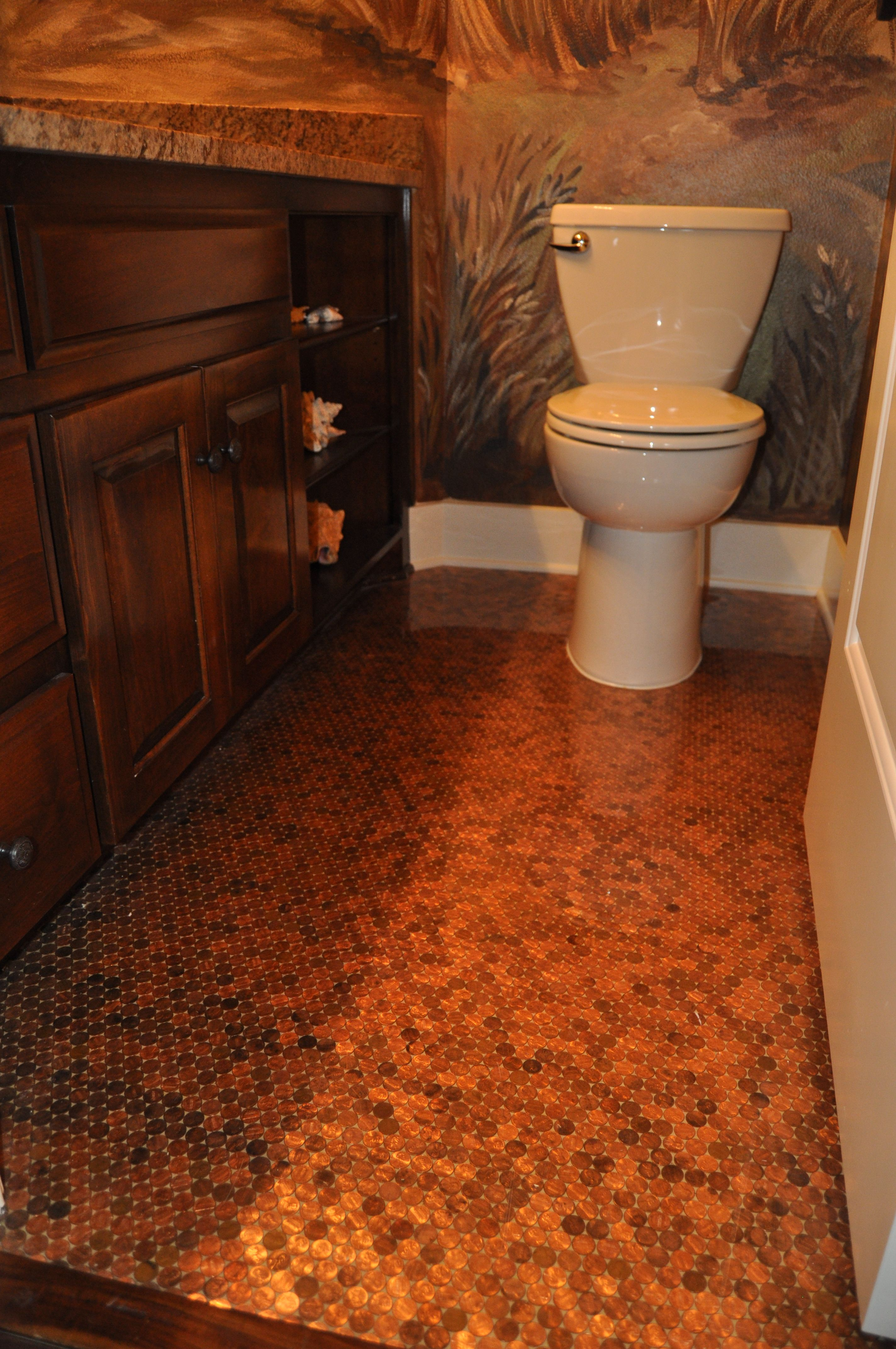 I 39 m seriously considering putting a penny floor down in - How to put down tile in bathroom ...